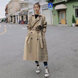 Женская траншея пальто бренда Англия стиль плед пальто женщин длинный двухбортный трюк для леди весной осень женская верхняя одежда одежда