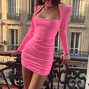 Velvet Square Collar Elegant Dress For Ladies Solid Long Sleeve Pleated High Waist Women Club Shoulder Padded Sexy Mini Dresses