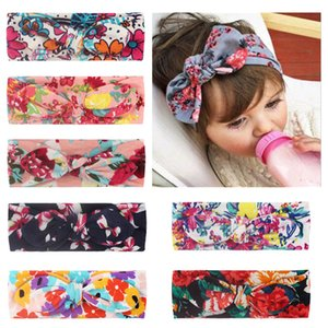 Girls Headbands Flower Print Rabbit Ear Headband Bowknot Newborn Baby Girls Hairband Head Bands Hair Accessories