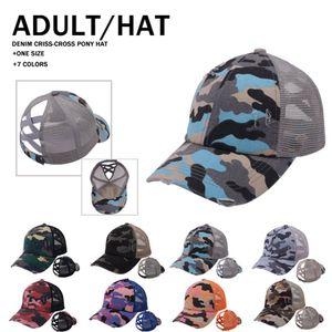 Camo Criss Cross Baseball Hat 18 Estilos Girasol Rayado Ponytail Cap Mensy Bun Summer Hollow Hats Ooa12000
