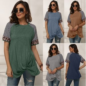 2021 New spring and summer Women's T-Shirt Tops Tees Regular sleeve Crew Neck Stripe stitching short sleeve T-shirt