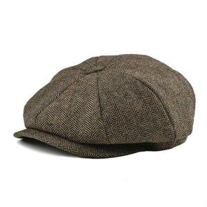 Botvela Soft Tweed Wool Khaki Fishgraat Paper Clip Men 8-piece Panel Plate Caps Women Baret Hat 005