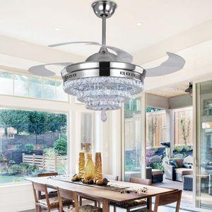 LED Kristal Avize Fan Işıkları Avize Fan Kristal Işıklar Oturma Odası Minimalist Restoran Uzaktan Kumanda ile Modern Modern