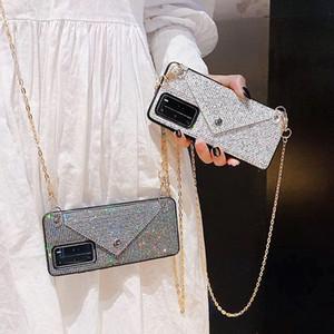 Caja del teléfono de la Crossbody del diamante del diamante del diamante del rhinestone del brillo de lujo para Huawei P40 Caja de metal P30 Mate Cubierta de la cartera de cadena larga