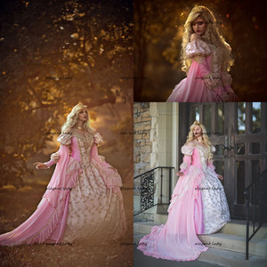 Gothic Sleeping Beauty Princess Medieval pink and gold Wedding Dress Long Sleeve Lace Appliques Victorian masquerade Bridal gown