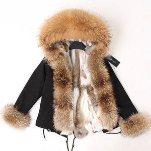 Maomaokong Women Short Parka Winter Long Jacket Parkas Real Fur Coat Natural Fox Fur Hood Real Rabbit Fur Liner Outerwear 201103
