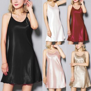 Plus Size Womens Lingerie Nightwear Underwear Sexy Satin Hem Sling Nightgowns For Women Sleeveless Sexy Sleepshirts