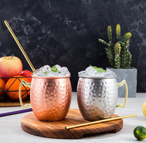 Copper Mug Stainless Steel Beer Cup Moscow Mule Mug Rose Gold Hammered Copper Plated Drinkware EWF5035