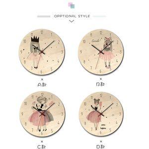 Nuevo reloj de madera impreso reloj de pared Encantadora niña Reloj de partido Habitación para niños Medio ambiente Silent Horloge Y200109 744 K2