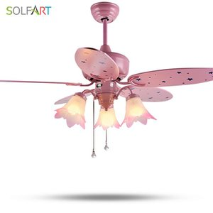 SOLFART ceiling fan remote control mute and security save energy kids room led ceiling fan lamp pink fans slf2021