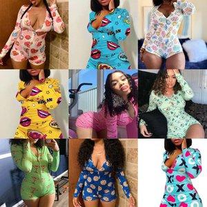 Women Long Sleeve Jumpsuit Fashion Skinny Pajama Onesies Sexy Rompers Elegant Homewear Pullover Comfortable Clubwear 2021