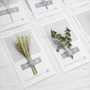 Kunst handgetrocknete Blumen Grußkarte 2021 Neue Persönlichkeit DIY Grußkarten Urlaub Universal Grußkarten Großhandel BWD5401