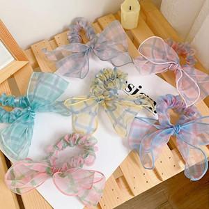 Mulher bowknot scrunchies meninas skranchy xadrez cabelo laços acessórios de cabelo meninas de borracha banda corda ornamentos