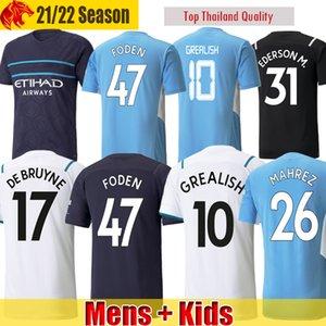 21 22 Manchester Camisa de Futebol GREALISH City 2021 2022 Fãs & Versão do Jogador STERLING G. JESUS FERRAN MAHREZ DE BRUYNE Camisa Homem Kit Crianças