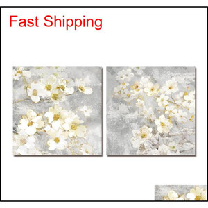 Oil Painting Dyc 10059 2Pcs White Flowers Print Art Ready To Hang Paintings Fjknk J305U