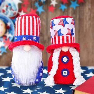 Bağımsızlık Günü Vatanseverlik GNOME Amerikan Yıldız ve Çizgili El Yapımı Cüce Bebek 4 Temmuz Çocuk Oyuncakları Ev Masa Dekorasyon DHD4985