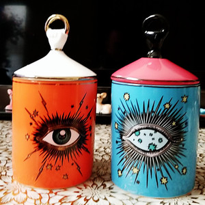 Lovely Design Big Eyes Jar Hands with Lids Ceramic Decorative Cans Candle Holder Storage Cans Home Decorative Box for Makeup