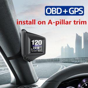 AP-1 HUD Head-Up Display OBD+GPS Dual System Smart Gauge Driving Stopwatch Speedometer Odometer Digital Meter Alarm Auto Electronics