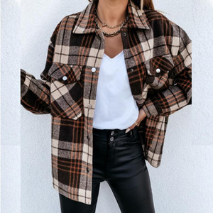 Women Shirts Tops Check Fleece Casual Fashion Loose Shacket Top Shirt Tunic Oversize Baggy Youth Lady Autumn Winter Blouse Lady