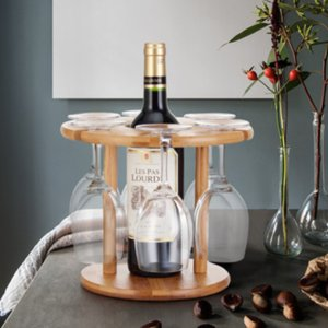 Tabletop Wine Rack and Stemware Organizer-Holds 1 Bottle and 6 Glasses Wooden Storage Shelf