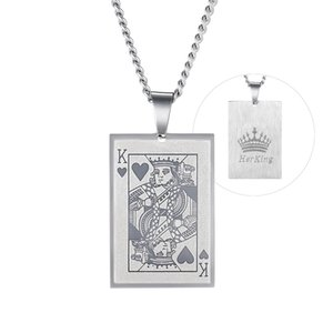 Couple's Playing Cards Necklace, Her King and His Queen Necklace in Stainless Steel, Lover Gift