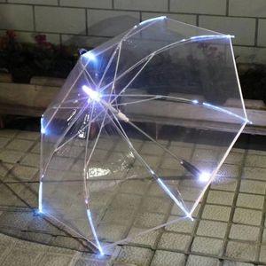 Yiwumart LED светлый прозрачный непрелажалый для экологического подарка, сияющие светящиеся зонтики партии активность длинной ручкой зонтик Y200324 70 S2