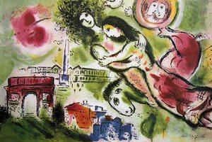 Marc chagall romeo ve juliet ev dekor handpainted / hd-baskı yağlıboya tuval duvar sanatı tuval resim 210221