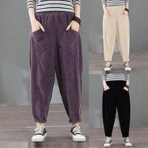 Streetwear Mujeres Pantalones Retro Corduroy Harem Pantalones sueltos Plus Tamaño Stitching Carrot Pantalón Femme Fall Casual All-Party Pantalones