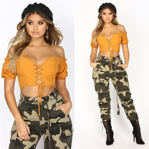Solid top women designers clothes 2020 Sexy fashion off the shoulder strap short sleeve Chest wrapped T shirt