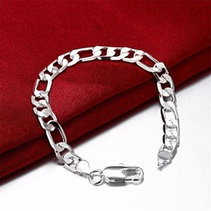 hot sale 6M flat three one one men's 925 silver plate charm bracelet 19.5X0.6cm DFMWB219,sterling silver plated jewelry bracelet 222 R2