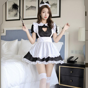 Men Women Maid Outfit Anime Sexy Black White Apron Dress Sweet Gothic Lolita Dresses Cosplay Costume