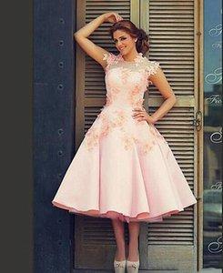 Spring Summer Blush Pink Short Wedding Dresses New 2021 A Line Satin Bridal Gowns 3D Flowers Lace Appliques Tea Length Garden Wedding Dress