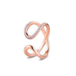Cluster Rings Wrapped Open Infinity Rose 100% Authentic 925 Sterling-Silver-Jewelry