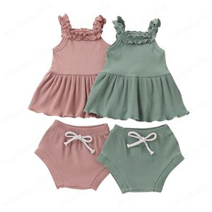 Infant Baby Solid Outfits Lace Sling Tops Sleeveless Ruffle Vest Toddler Girls Elastic PP Shorts Kids Clothes Sets Casual Outfits