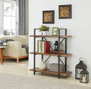 3-Tier Industrial Bookcase and Book Shelves, Vintage Wood and Metal Bookshelves, Retro Brown