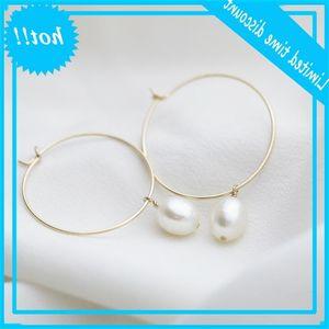50 mm Gold Filled Natural pearls Handmade jewellery Circle Boho Brincos Pendant Earrings