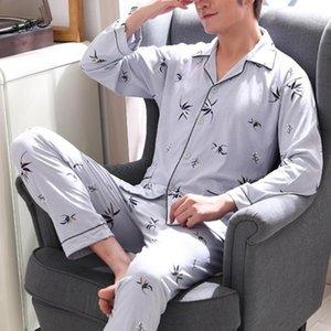 Men Pajama Sets Stampato Bottone colletto a discesa a maniche lunghe Abbigliamento da uomo Abbigliamento da uomo Abbigliamento da uomo Pigiama Set da uomo Abbigliamento da uomo