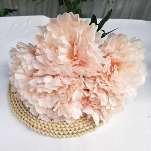 Five Head Peony Silk Fabric Simulation Peony Flowers Bridal Bouquet Fake Floral Wedding Party Decoration Red Pink AHD5035
