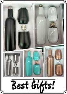 3pcs Lot 750ml Wine Bottle Set with Two 12oz Wine Tumblers 25oz Stainless Steel Bottles with Egg Shaped Mug Insulated Vacuum Glass Sets Gift
