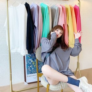 Women's 2020 winter thickened off shoulder sweater women's loose fitting Pullover Korean round neck solid color student