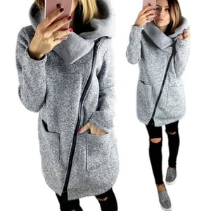 Женская осень и зимняя одежда теплый флисовый куртка наклон застенчивания воротник на молнии пальто повседневная одежда пальто топы женской куртки