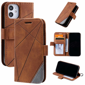 PU Leather Wallet Phone Case for Samsung Galaxy S20 Ultra Note20 iPhone 12 11 Pro Max Geometric Polygon Design Flip Stand Cover Case