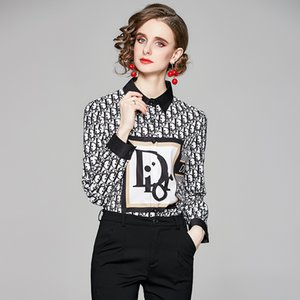 Quality Runway Printed Classic Shirts Designer Women's Button Blouse Elegant Long Sleeve Spring Autumn Office Beautiful Shirt Plus Size Tops