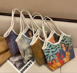 2021 New Designers Handbags Fashion shoulder bag graffiti print retro canvas Handbag Tote kids Lunch Mini Tote Bags For Women Shopping bag
