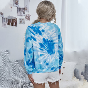 2020 printed tie dyed women's long sleeve round neck Pullover5SKP
