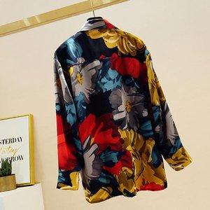 Women's Blouses & Shirts Spring Autumn Shirt Korean Retro Loose Contrast Color Leopard Chiffon Blouse Women Commuter Long Sleeve Tops GD600