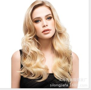 Perruque WIG WIG Headgear Long Boucly Cheveux Big Wave Golden Wig Headgear