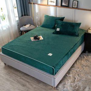 Magic Fleece Fitted sheet set solid stripe flannel elastic fit sheet +2pillowcase warm bed linen set winter plush mattress cover