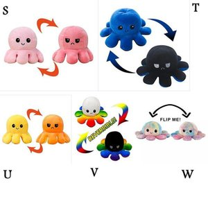 23 Styles Reversible Flip Octopus Stuffed Doll Soft Double-sided Expression Plush Toy Baby Kids Gift Doll New Year Festival Party Supplies