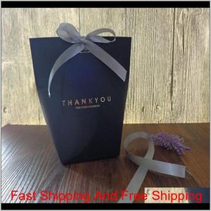 Bolsa de regalo Gracias Merci Gift Wrap Paper Bolsas para regalos Favores de boda Box Package Birthday Qylitz Bde_Luck